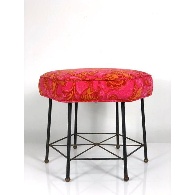 Jack Lenor Larsen Vintage 1950's Modernist Pink and Orange Velvet Iron Footstool / Ottoman For Sale - Image 4 of 9