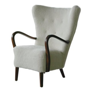 Danish 1940s Easy Chair in Lambswool With Open Armrests by Alfred Christensen For Sale