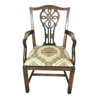 Antique 18th Century Irish Chippendale Carved Mahogany Celtic Knot Armchair For Sale