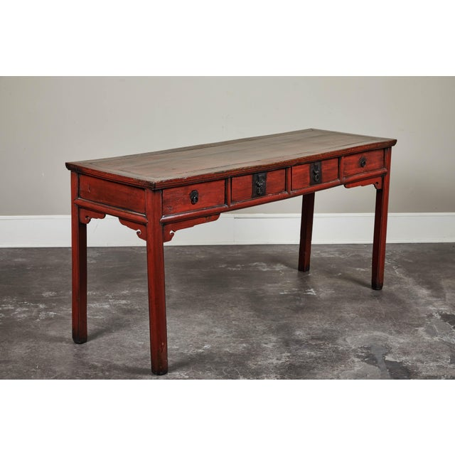 Asian 19th C. Cinnabar Lacquer Console For Sale - Image 3 of 9