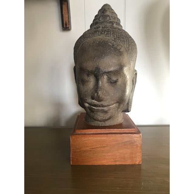 Gray Early 20th Century Antique Cambodian Head of Buddha on Wooden Base For Sale - Image 8 of 8