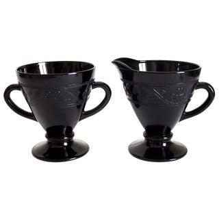 Black Depression Glass Creamer & Sugar - Cloverleaf Pattern - a Pair For Sale