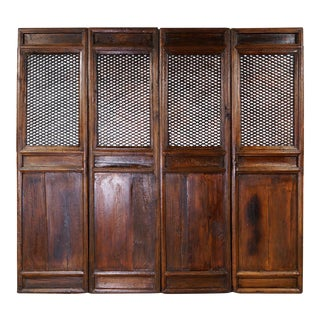 Chinese Antique Carved Wooden Panel Screen/Room Divider