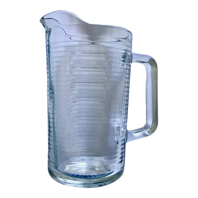 Mid Century Vintage Ribbed Glass Pitcher For Sale