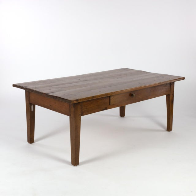 1870 French Walnut Low Table With Center Drawer For Sale In San Francisco - Image 6 of 8