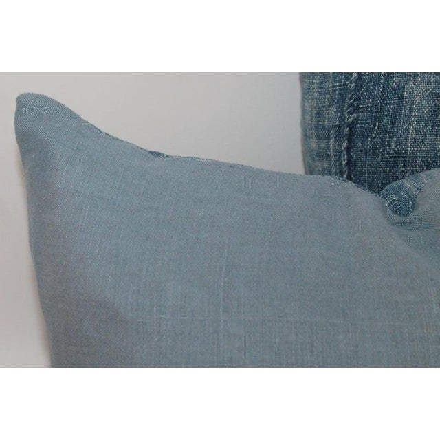Adirondack Blue 19th Century Linen Pillows - A Pair For Sale - Image 3 of 6