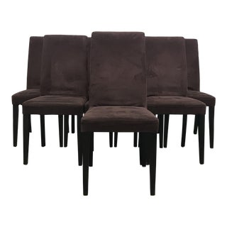 Set of 8 Mauve Microsuede Dining Chairs