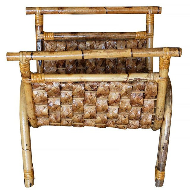 Mid-Century Modern Restored Woven Wicker & Rattan Magazine Rack For Sale - Image 3 of 6