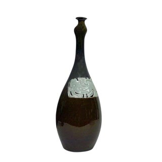 Modern Handmade Long Neck Bottle Shape Vase Brown Gloss With Ancient Phoenix Graphic For Sale