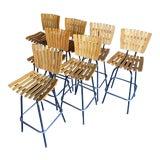Image of 1960s Vintage Wood Slat & Metal Arthur Umanoff Swivel Stools - Set of 7 For Sale