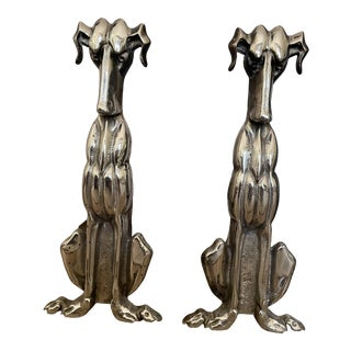 Brushed Nickel Dog Andirons - A Pair For Sale