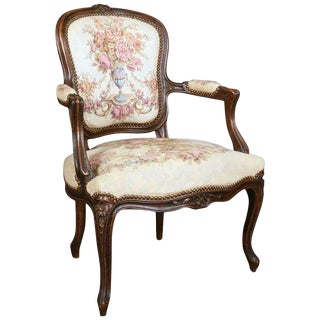 18th Century French Louis XIV Carved Beech Wood Fauteuil Chair With Floral Tapestry For Sale