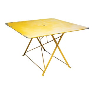 French Large Square Yellow Metal Folding Table, circa 1940 For Sale