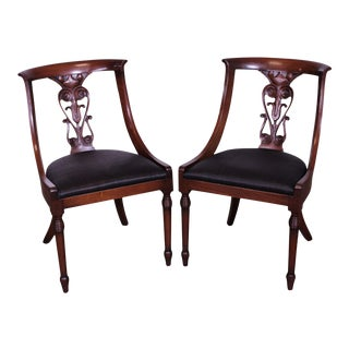 Regency Style Vintage Custom Quality Pair Mahogany Side Chairs For Sale