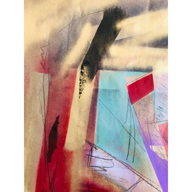 Abstract Abstract Original Painting by Erik Sulander 23x19 Paper For Sale - Image 3 of 4