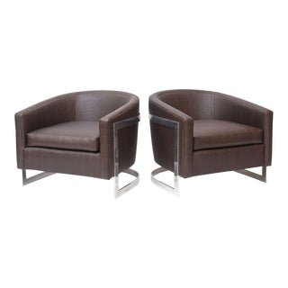 "Pair of Milo Baughman Polished Chrome and ""Ostrich"" Upholstered Chairs For Sale"