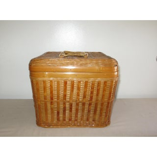 Vintage Wood Basket With Handles and Closure Preview