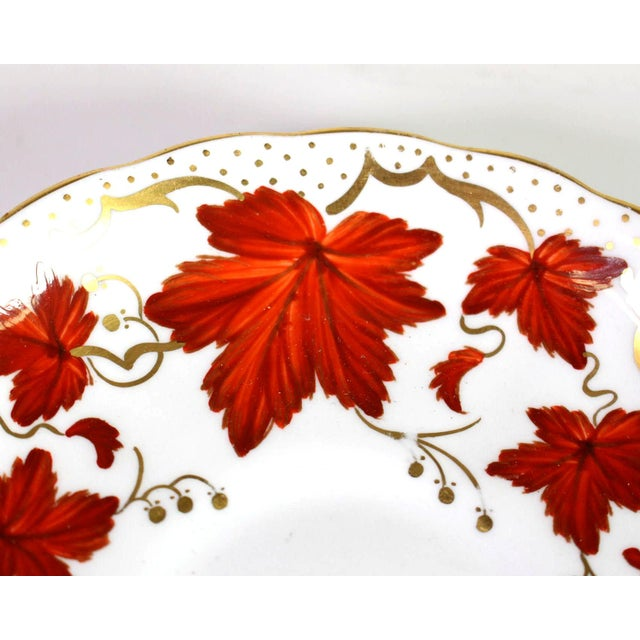 Ceramic 1950's Royal Chelsea English Fine Bone Porcelain China Maple Leaf Tea Cups & Saucers - Set of 5 For Sale - Image 7 of 8