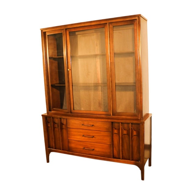 Mid-century modern hutch china cabinet by Kent Coffey. Minimalist Danish Modern inspired profile. A handsome example of...