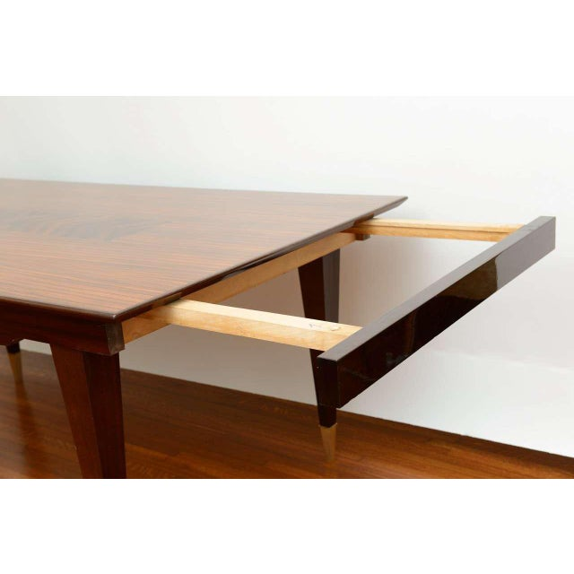 Art Deco Mid-Century Modern Dining Room Table Lacquered Extension Leaves For Sale - Image 3 of 12