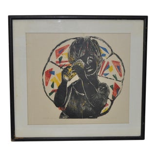 "Hope Merryman Original Woodcut Print ""Kaleidoscope"" Artist Proof C.1967 For Sale"