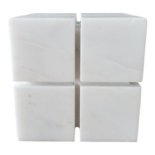 Italian Marble Geometric Cube Sculpture For Sale