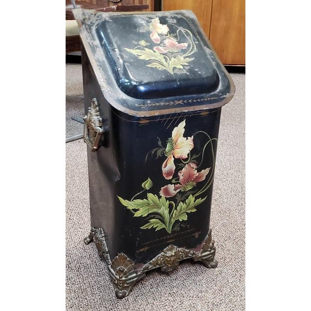 American Victorian Hand Painted Firewood Bin W/ Insert C.1890s For Sale - Image 13 of 13