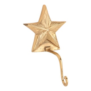 Solid Brass Star Stocking Holder For Sale