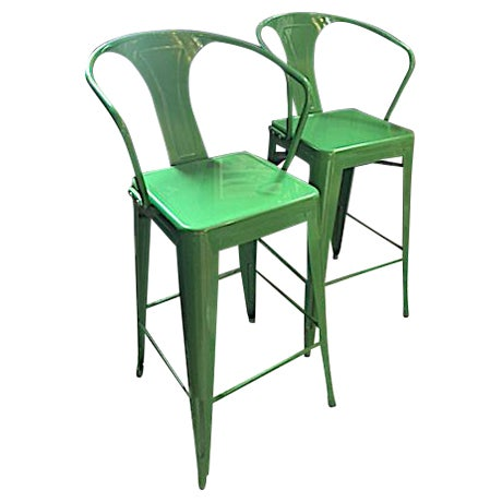 Contemporary Kelly Green Metal Barstools -- A Pair For Sale