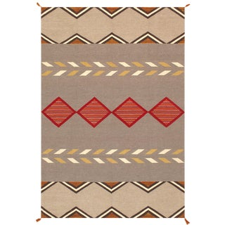 Navajo Style Wool Area Rug - 6′1″ × 8′11″ For Sale
