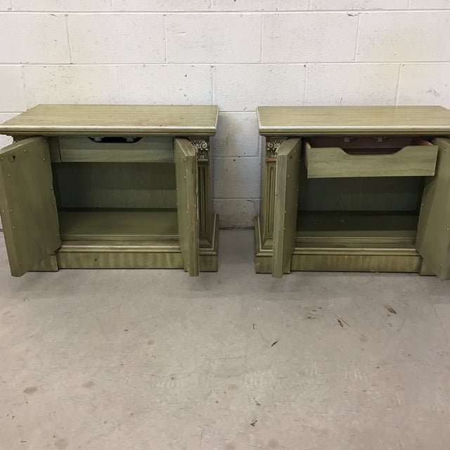 Neoclassical Rustic Olive Nightstands - A Pair For Sale - Image 11 of 11