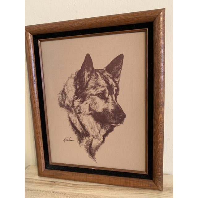 Amazing german shepherd vintage etching on fabric. This is original artwork and is signed. Amazing condition for it's age...