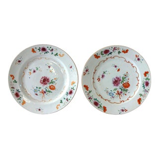 Antique 1736-1795 Qianlong Chinese Export Porcelain Famille Rose Dinner Plates - a Pair For Sale