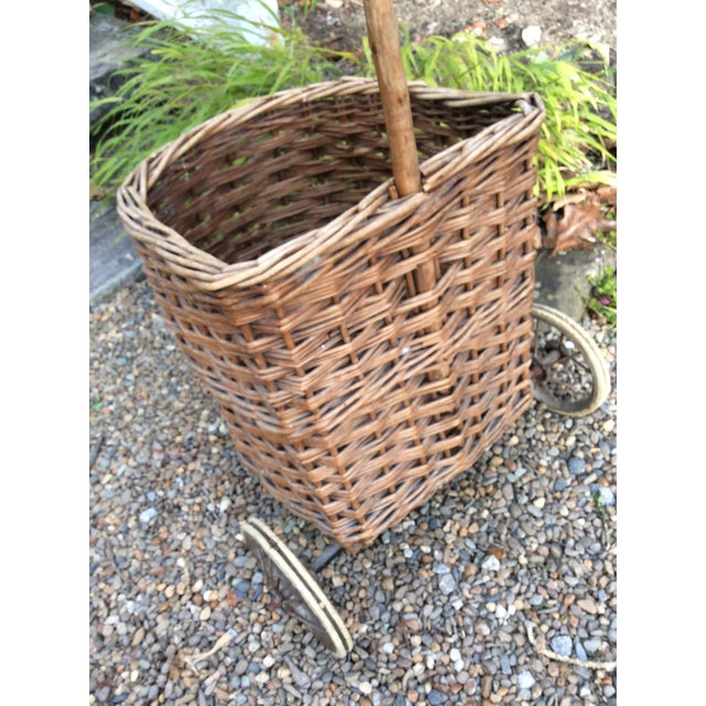 Vintage French Woven Shopping Cart on Wheels For Sale - Image 4 of 12