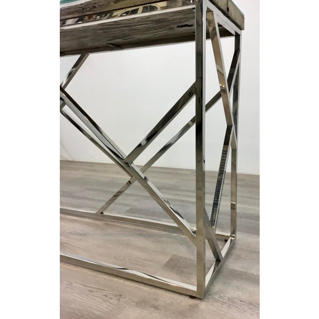 Industrial Industrial Modern Reclaimed Teak Wood and Stainless Steel Console Table For Sale - Image 3 of 7