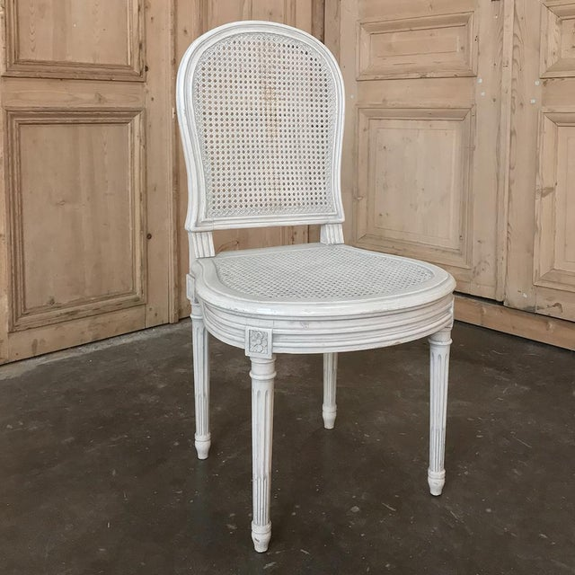 Wood Early 20th Century Antique French Louis XVI Painted Dining Chairs-Set of 8 For Sale - Image 7 of 13