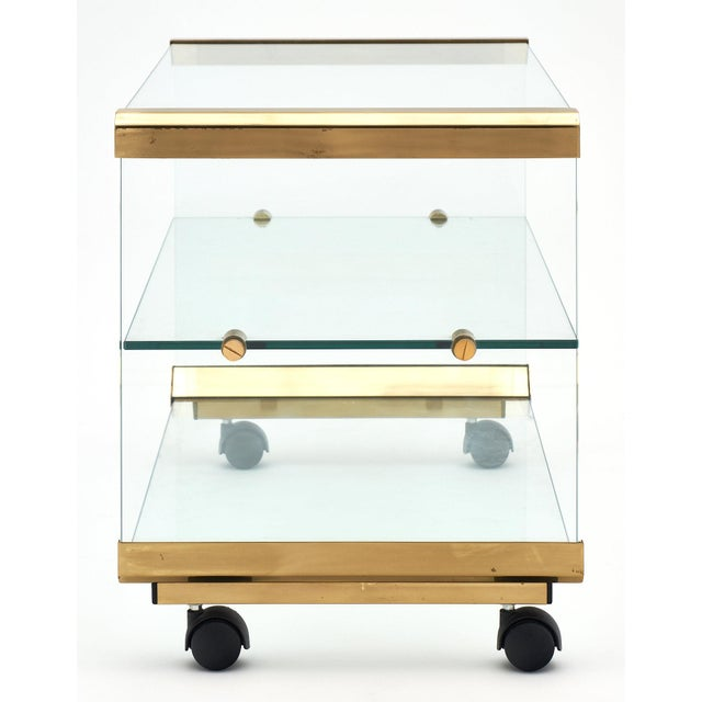 Brass Modernist Glass and Brass Side Table For Sale - Image 7 of 10