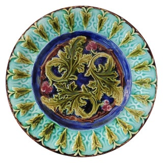 1890s French Majolica Acanthus Leaves Plate For Sale