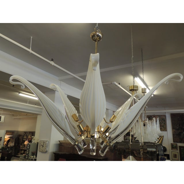 Seguso White Glass Chandelier For Sale - Image 6 of 6