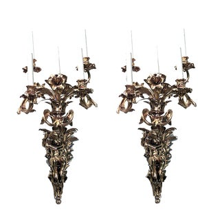 French Louis XV Style Bronze Doré Wall Sconces - a Pair For Sale