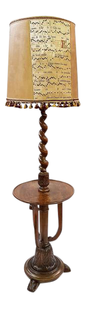 Antique French Barley Twist Floor Lamp With Musical Notes Lampshade