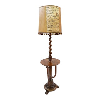 Antique French Barley Twist Floor Lamp with Musical Notes Lampshade For Sale