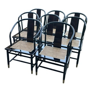 Lacquered Asian Style Dining Chairs by Henredon For Sale