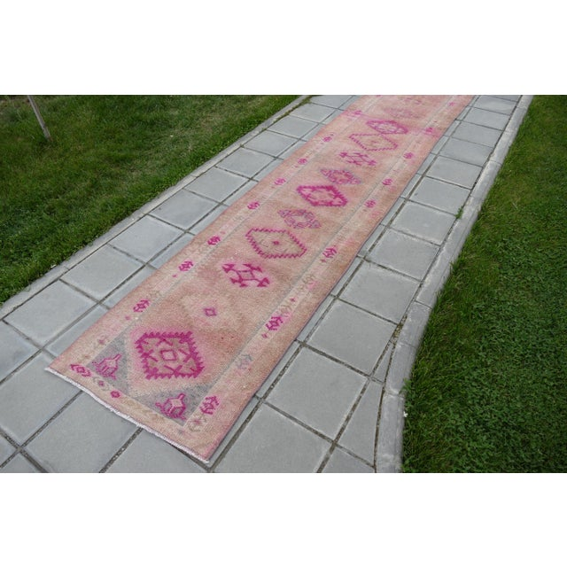Textile 1970s Vintage Turkish Kurdish Pink Runner- 2′8″ × 12′5″ For Sale - Image 7 of 11