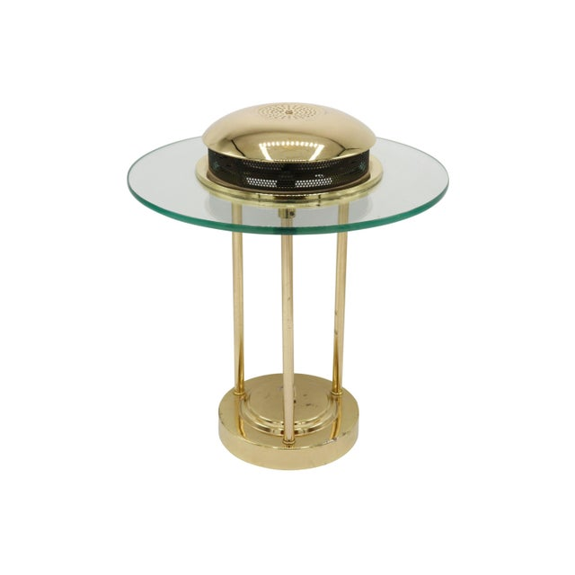 Rare Italian Mid century polished brass and glass table lamp with a dimmer switch. Tested & working. Dimensions: Top...