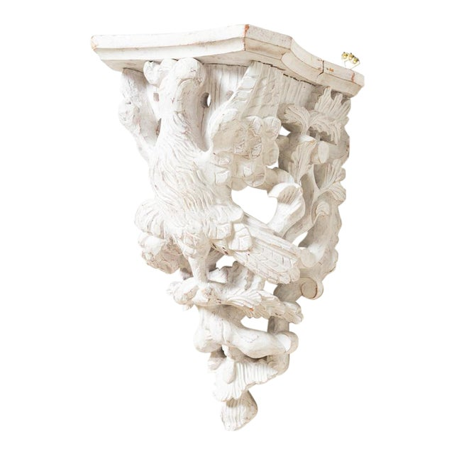 1890s Traditional Style Off-White Wood Eagle Bracket Left For Sale
