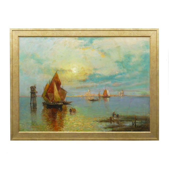 A large and fine luminist scene that captures a view of San Marco from across the lagoon in Venice while two local figures...