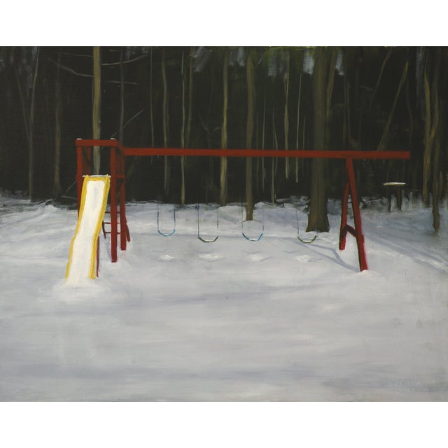 Landscape Painting Children's Swingset in Snow - Image 1 of 5