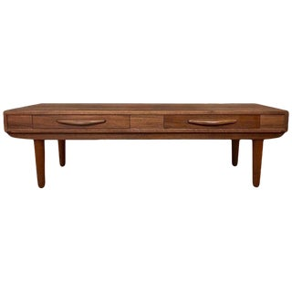 Glenn of California Style Walnut Coffee Table With Drawers For Sale