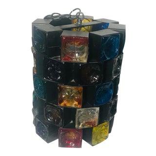 Muticolor Glass Felipe Delfinger for Feders Brutalist Pendant For Sale